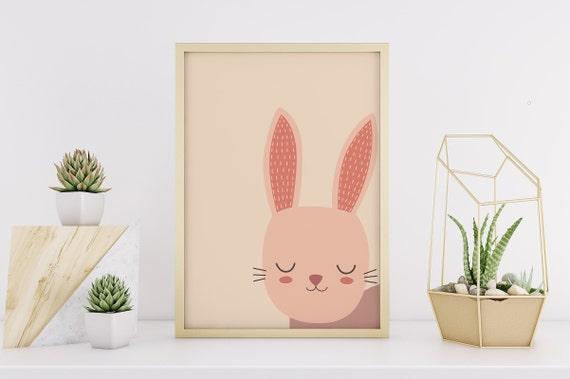 Sleeping Bunny Animal Drawing  Print - Nursery Home Decor Wall Art Baby Girl / Boy Room - DIGITAL DOWNLOAD