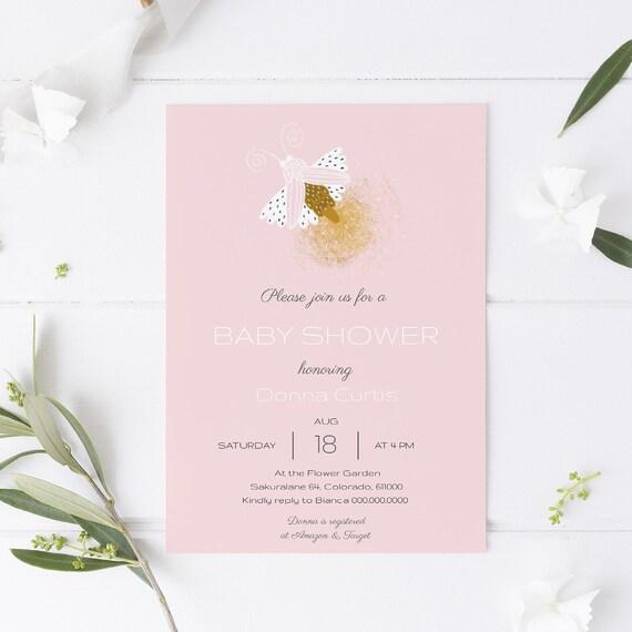 Modern Pink Moth Baby Shower Invitation - Editable Template - 5 x 7 - Card - Editable Invitation Templett - Download