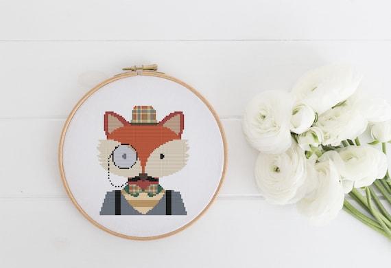 Intellectual Fox Pattern - Cross Stitch Pattern - Modern Cross Stitch - Childrens Decor Nursery - Instant Download - Home Decor