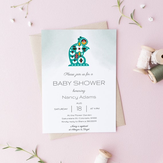 Modern Scandinavian Squirrel Baby Shower Invitation - Editable Template - 5 x 7 - Card - Editable Invitation Templett - Download DIY