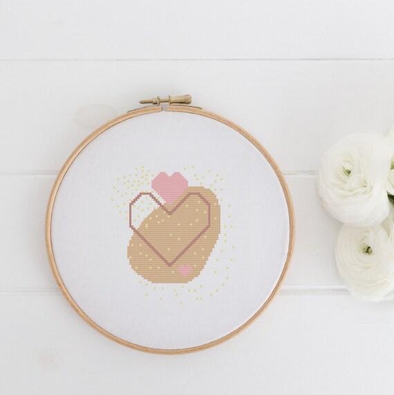 Modern Art Heart Chart Cross Stitch Pattern - Modern Cross Stitch - Childrens Decor Nursery