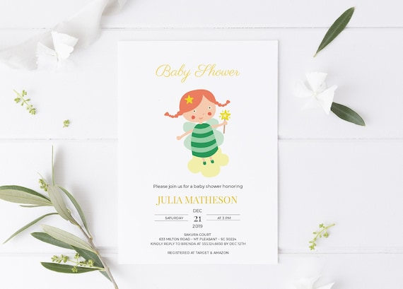 Fairy Girl Baby Shower Invitation - Editable Template - 5 x 7 - Card - Editable Invitation Templett - Download
