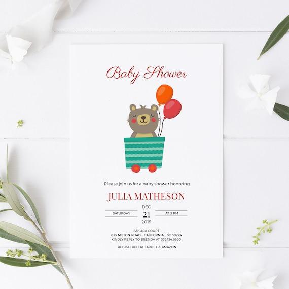 Little Bear Train Wagon Animal Baby Shower Invitation - Editable Template - 5 x 7 - Card - Editable Invitation Templett - Download