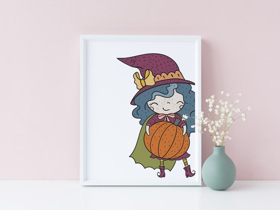 8 x 10 Halloween Pumpkin Witch - Nursery Print- Nursery Kids Room Baby Wall Art Decor - DIGITAL DOWNLOAD