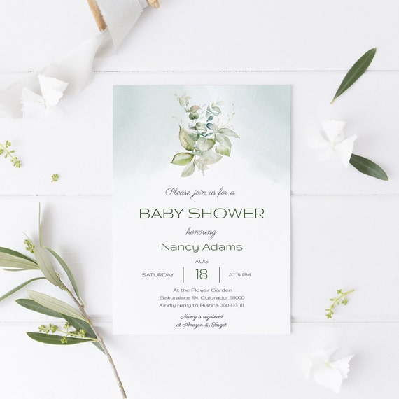 Flower Bouquet Florals Green Baby Shower Invitation - Editable Template - 5 x 7 - Card - Editable Invitation Templett - Download DIY