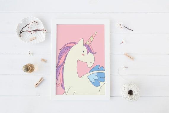 8 x 10 Unicorn Pink Print- Boho Nursery Decor Print Wall Art Baby Kids Childrens Room Printable Decor - DIGITAL DOWNLOAD
