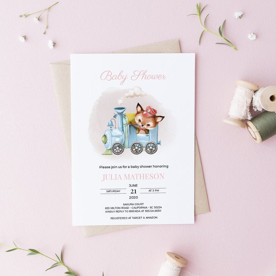 Fox on a Train Baby Shower Invitation - Editable Template - 5 x 7 - Card - Editable Invitation Templett - Download DIY