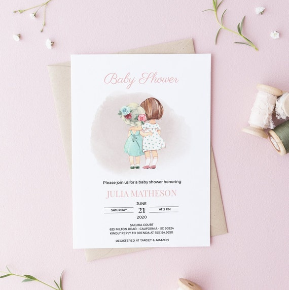 Watercolor Girls Best Friends Baby Shower Invitation - Editable Template - 5 x 7 - Card - Editable Invitation Templett - Download - DIY