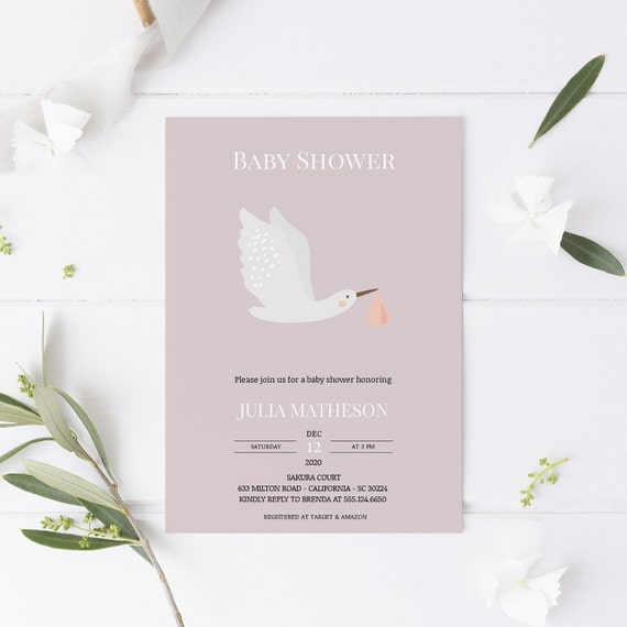 Stork Bird Baby Shower Invitation - Editable Template - 5 x 7 - Card - Editable Invitation Templett - Download DIY
