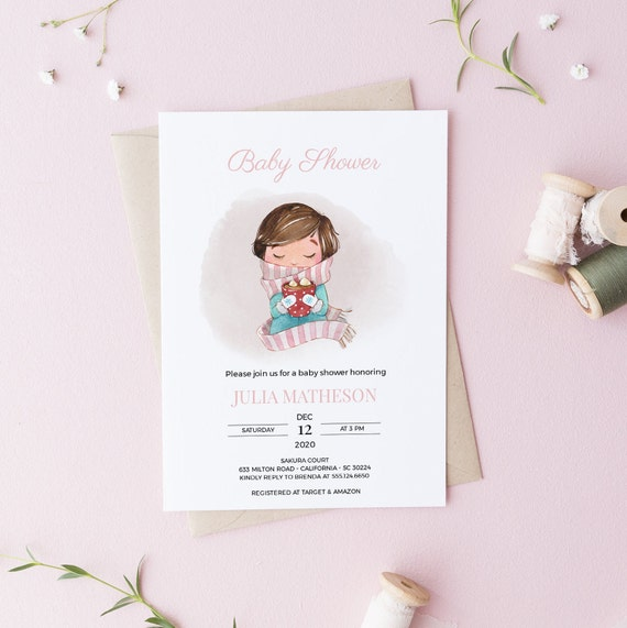 Watercolor Girl Hot Cocoa 3 Winter Baby Shower Invitation - DIGITAL FILE - 5 x 7 - Card - Download