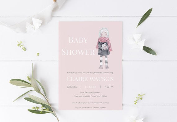 Girl with Bunny Pink Baby Shower Invitation - Editable Template - 5 x 7 - Card - Editable Invitation Templett - Download