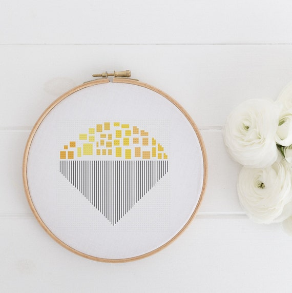 Sunburst - Modern Geometrical Chart Cross Stitch Pattern - Modern Cross Stitch - Childrens Decor Nursery  Instant Download