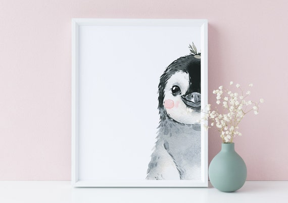 8 x 10 Peekaboo Penguin 2 Watercolor Arctic Animal Bird Print- Nursery Decor, Kids Room Baby Wall Art Decor - DIGITAL DOWNLOAD