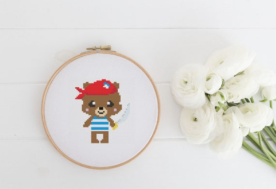 Pirate Bear - Cross Stitch Pattern PDF Instant Download- Modern Cute Cross Stitch - Decor Needlecraft Pattern Hoop Art