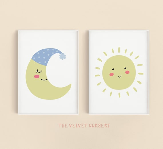 Sun & Moon Set - Boho Nursery Print Wall Art Home Decor Baby Girl - Boy Room Printable - DIGITAL DOWNLOAD