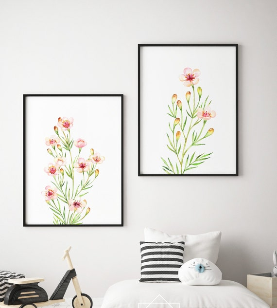 Full Bloom - Flower Botanical Floral Print Set - Boho Nursery Print Wall Art Home Decor Baby Girl - Boy Room Printable - DIGITAL DOWNLOAD