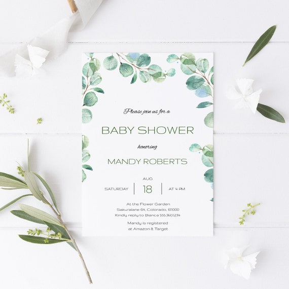 Watercolor Eucalyptus Botanical Baby Shower Invitation - Editable Template - 5 x 7 - Card - Editable Invitation Templett - Download DIY