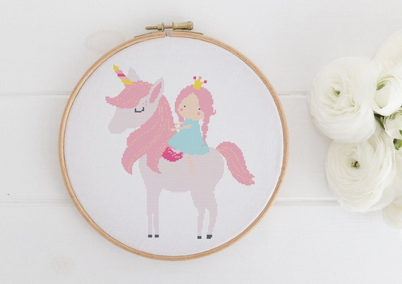 Princess and her Unicorn - Little Girl Chart Cross Stitch Pattern - Modern Cross Stitch - Childrens Decor Nursery - Instant Download -