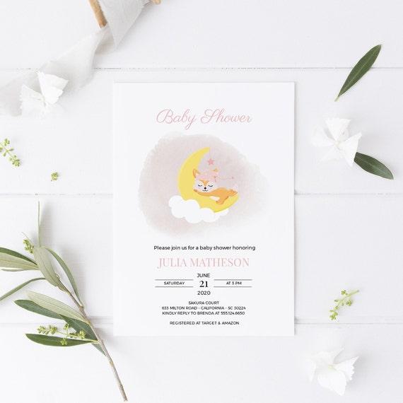 Fox on Moon Cloud Baby Shower Invitation - Editable Template - 5 x 7 - Card - Editable Invitation Templett - Download DIY