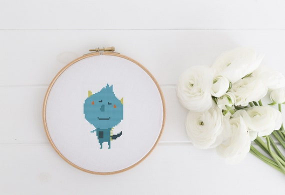 Friendly Blue Monster Pattern - Cross Stitch Pattern - Modern Cross Stitch - Childrens Decor Nursery - Instant Download