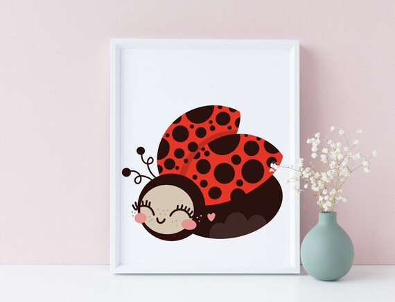 8 x 10 Ladybug - Animal Drawing Nursery Print- Nursery Kids Room Baby Wall Art Decor - DIGITAL DOWNLOAD