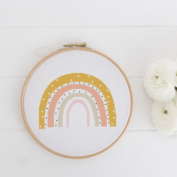 Rainbow Straw - Modern Boho Chart Cross Stitch Pattern - Modern Cross Stitch - Childrens Decor Nursery - Instant Download -