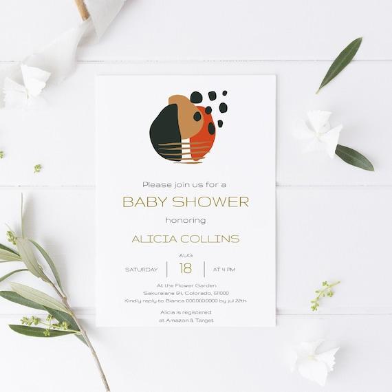 Abstract Art Baby Shower Invitation - Editable Template - 5 x 7 - Card - Editable Invitation Templett - Download DIY