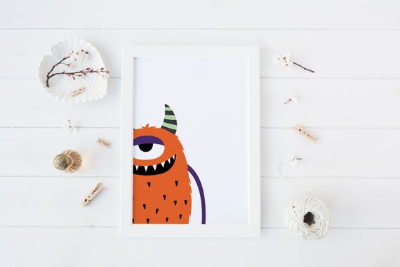 8 x 10 inch Orange Monster Print- Nursery Decor Print Wall Art Baby Girl - Boy Room Printable Decor - DIGITAL DOWNLOAD