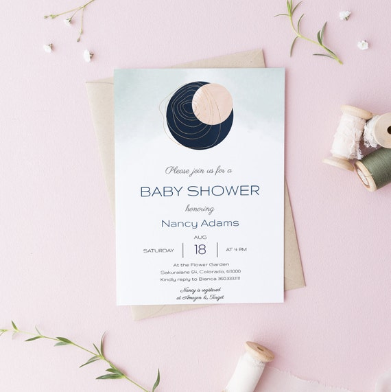 Modern Abstract 4 Baby Shower Invitation - Editable Template - 5 x 7 - Card - Editable Invitation Templett - Download DIY