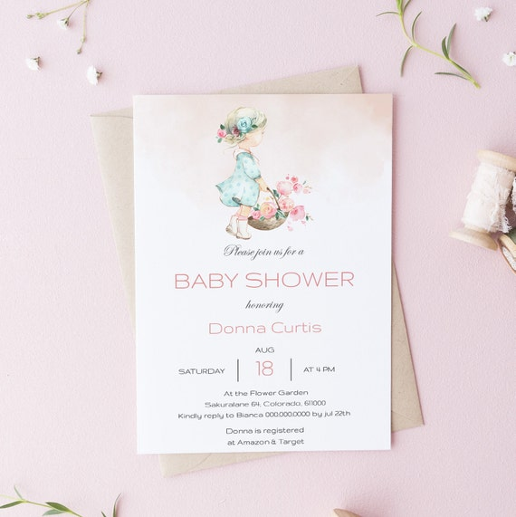 Watercolor Flower Floral Girl Baby Shower Invitation - Editable Template - 5 x 7 - Card - Editable Invitation Templett - Download