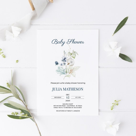 Flower Bouquet Florals Blue 3 Baby Shower Invitation - Editable Template - 5 x 7 - Card - Editable Invitation Templett - Download DIY