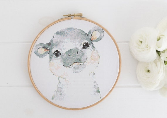 Watercolor Hippo Chart - Cross Stitch Pattern - Modern Cross Stitch - Childrens Decor Nursery - Instant Download -