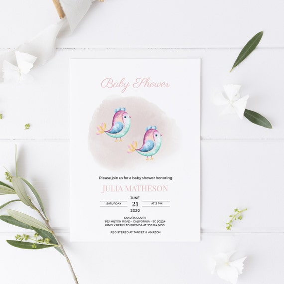 Watercolor Little Birds Birdies Baby Shower Invitation - Editable Template - 5 x 7 - Card - Editable Invitation Templett - Download DIY