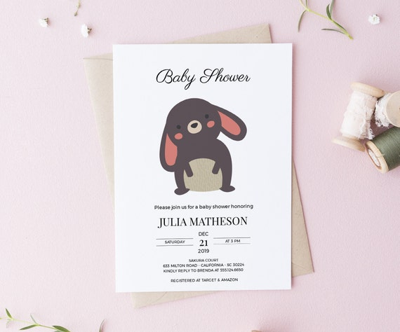 Cute Bunny Woodland Animal Baby Shower Invitation - Editable Template - 5 x 7 - Card - Editable Invitation Templett - Download