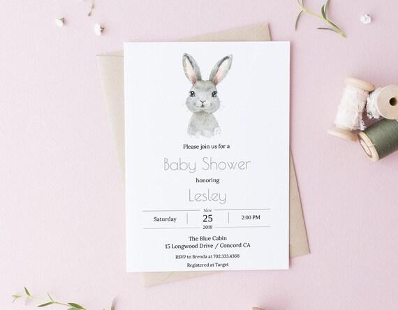Watercolor Bunny Rabbit Baby Shower Invitation - Editable Template - 5 x 7 - Watercolor Card - Editable Invitation Templett - DIY