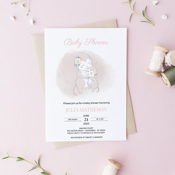Mother and baby Monkey Baby Shower Invitation - Editable Template - 5 x 7 - Card - Editable Invitation Templett - Download - DIY