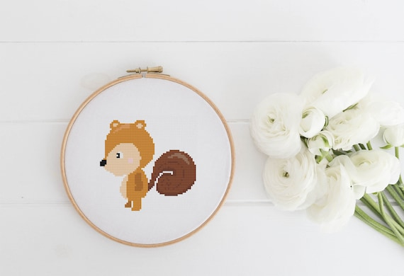 Little Squirrel Friend - Cross Stitch Pattern PDF Instant Download- Modern Cute Cross Stitch - Nursery Decor Needlecraft Pattern Hoop Art