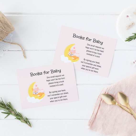 Books for Baby - Sleepy Fox Moon Pink - Editable Template - 5 x 3.5 inch - Card Watercolor - Edit Yourself Download - Jpeg & PDF options