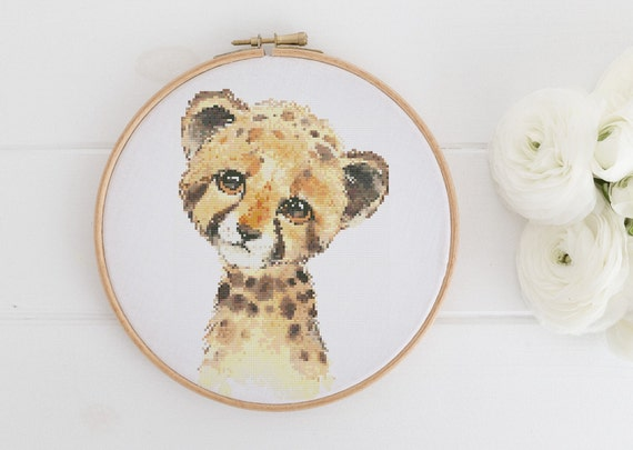 Watercolor Cheetah Animal Chart - Cross Stitch Pattern - Modern Cross Stitch - Childrens Decor Nursery - Instant Download