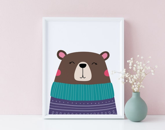 Winter Bear - Animal Print- Boho Nursery Decor Print Wall Art Baby Kids Room Printable Decor - DIGITAL DOWNLOAD