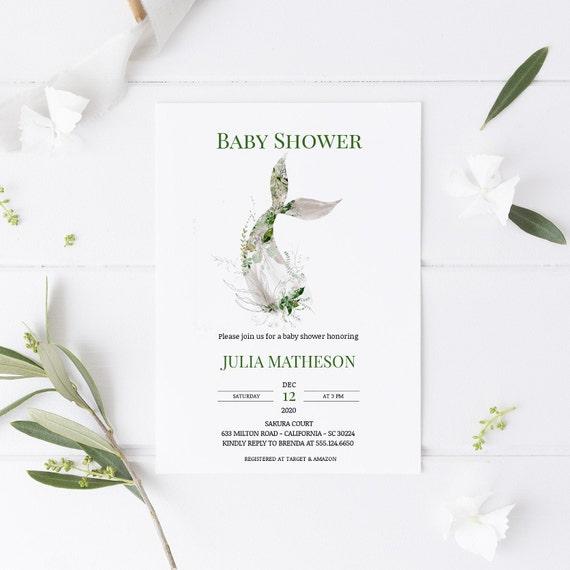 Mermaid Tail 2 Florals Green Baby Shower Invitation - Editable Template - 5 x 7 - Card - Editable Invitation Templett - Download DIY