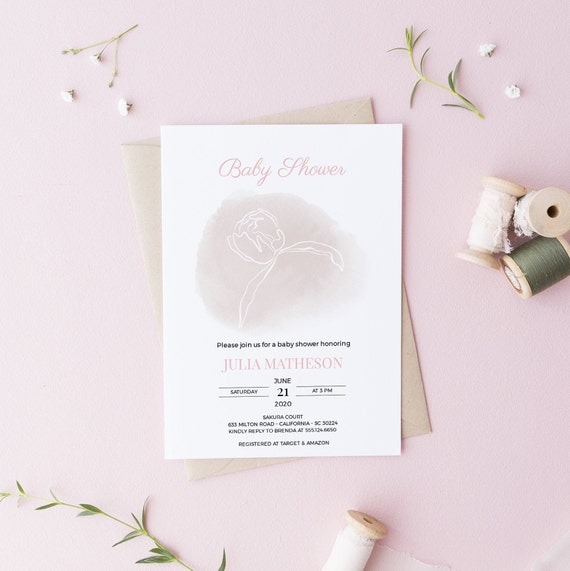 White Flower Pink Watercolor Baby Shower Invitation - Editable Template - 5 x 7 - Card - Editable Invitation Templett - Download DIY