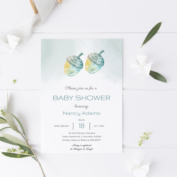 Watercolor Acorns Fall Baby Shower Invitation - Editable Template - 5 x 7 - Card - Editable Invitation Templett - Download DIY