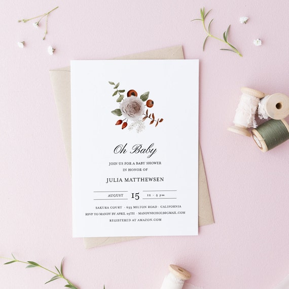 Flower Bouquet White Brown Baby Shower Invitation - Editable Template - 5 x 7 - Card - Editable Invitation Templett - Download DIY
