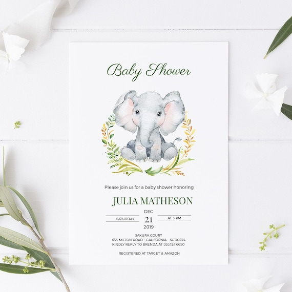 Watercolor Elephant Wreath Animal Baby Shower Invitation - Editable Template - 5 x 7 - Card - Editable Invitation Templett - Download