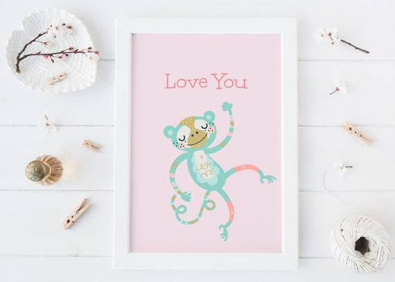 8 x 10 Love You Monkey Jungle Animal Watercolor Print- Nursery Decor, Baby Wall Art Printable Decor - DIGITAL DOWNLOAD