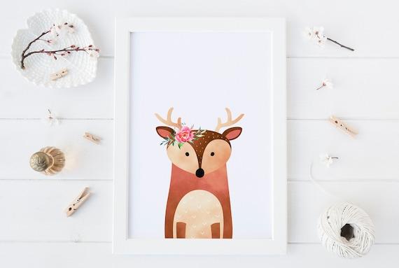 8 x 10 Deer Flower Watercolor - Animal Print- Nursery Decor Wall Art Baby Girl - Boy Room Printable Decor - DIGITAL DOWNLOAD