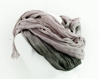 Linen Scarf Extra Long / Natural Linen Shawl / Hand Dyed Scarves / Fashion Accessories / Flax Beach Scarf / Gifts Idea / Ombre Scarf.