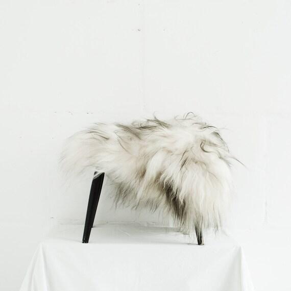 Genuine Icelandic Sheepskin Chair Cover Black and White 40 x 40 Centimeters Sheepskin Chair Throw Shaggy Sheepskin Sheepskin Pelt Throw.