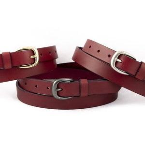 25mm Wide Burgundy Leather Belt Men/'s  Women/'s Handmade Genuine Full grain Leather Skinny Burgundy Belt 0.98 Solid Brass Buckle